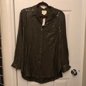 Anthropologie sequin button up